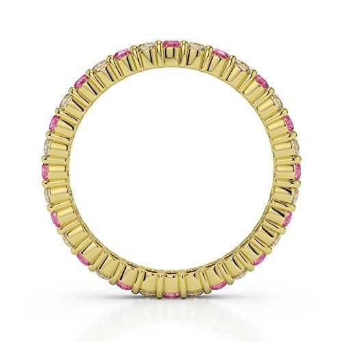 Or jaune 18carats 0,40CT G-H/VS Certifié Coupe ronde Tourmaline Rose et diamant éternité Bague Agdr-1110