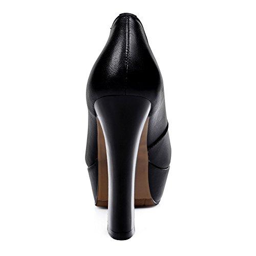 Amoonyfashion Womens Ronde Neus Gesloten Teen Hoge Hakken Pumps-schoenen En Platform Zwart