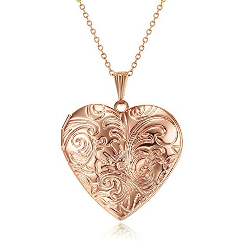 Roses Locket Necklace - YOUFENG Locket Necklace That Holds Pictures Flower Lockets Necklaces Pendant 18K Gold Plated Gifts for Women Girl (Heart Rose Gold Locket)