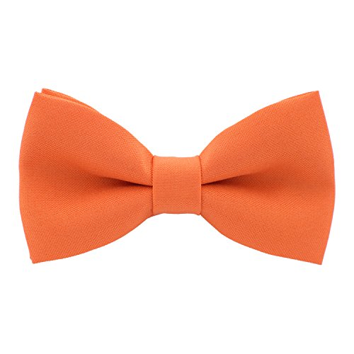 Classic Pre-Tied Bow Tie Formal Solid Tuxedo, by Bow Tie House (Large, Bright Tiger)