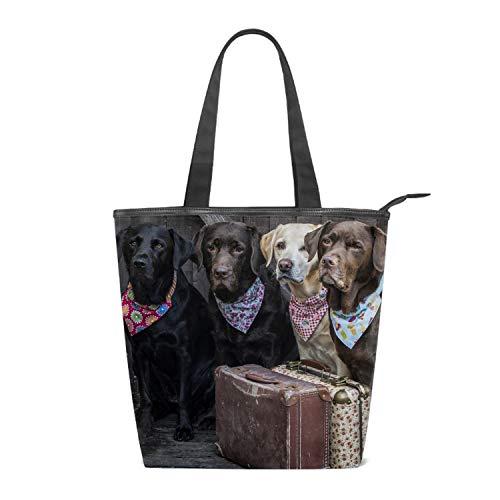- Women's Canvas Shoulder Tote Handbag, Labrador Retriever Carry Suitcase Travel Handbags for Shopper, Daily Purse Tote Bag