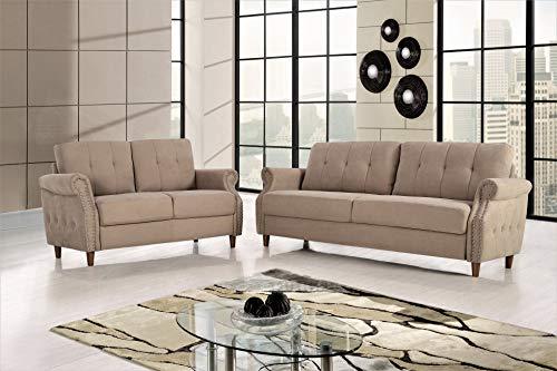 US Pride Furniture S5465-2PC Living Room Set, Sofa and Loveseat, Camel