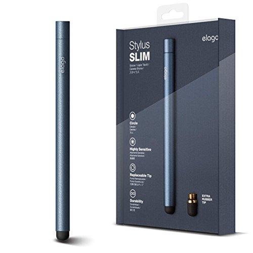 elago Stylus [Slim][Jean Indigo] - [Premium Aluminum ][Replaceable Tip][Extra Tip Included] - for iPad, iPad Pro, iPad Mini and iPhone