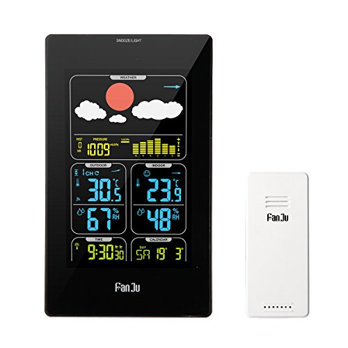 FanJu FJ3358 Wireless Digital Color Weather Forecast Station with Outdoor Sensor with Temperature, Humidity and Barometer Function (Black)