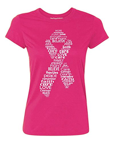 Promotion & Beyond White Ribbon Breast Cancer Awareness Women's T-Shirt, M, Cyber Pink