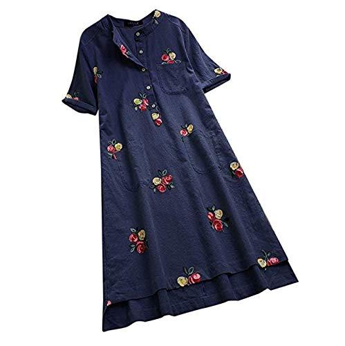 A BHDYHM Women Summer Loose Floral Embroidered Buttons,Short Sleeve Linen Shirt Dress Loose Pocket Long Short Sleeve Dress (color   A, Size   XXXL)