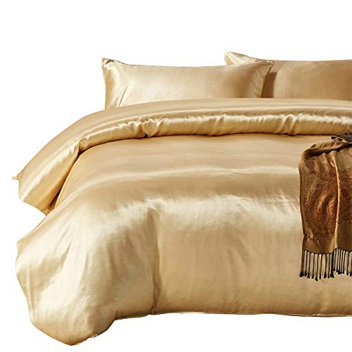 HOTNIU Full Satin Silk Duvet Cover Set with Zipper Closure - Quality Ultra Soft Premium 3 Piece Bedding Collection Sets - 100% Microfiber Comforter Protector with SHAM (Queen-Golden) (Sham Double Queen)