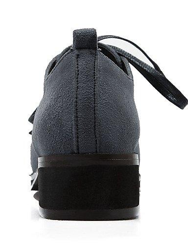 donna Uk3 Eu35 Tacco grigio tondo da blu us5 Cn34 Vestito Similpelle Njx nero Scarpe Hug similpelle piatto tacco oliva Grigio TwzqzAtU