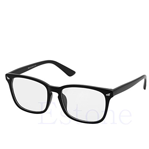 (Amrka Retro Eyeglass for Men Women Unisex Full Frame Glasses Computer Spectacles Glasses (Sand)
