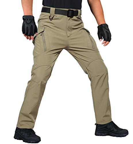 (MAGCOMSEN Men's Hiking Pants Soft Shell Pants Fleece Lined Pants Climbing Pants Waterproof Pants Thermal Pants Ski Pants Snowboard Pants Khaki)