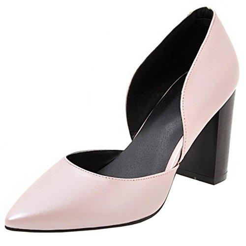 COOLCEPT Mujer Moda Puntiagudo sin Cordones Tacon de Aguja Tacon Fiesta Boda Zapatos Rosado