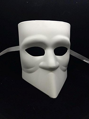 Jabbawockeez Style Venetian Masquerade White No Mouth Beard Face Mask ()