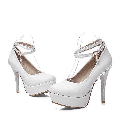 Damen PU Leder Hoher Absatz Rund Zehe Rein Ziehen auf Pumps Schuhe, Grau, 40 AllhqFashion