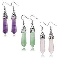 FIBO STEEL Quartz Stone Dangle Earrings for Women Girls Healing Chakra Gemstone Earring