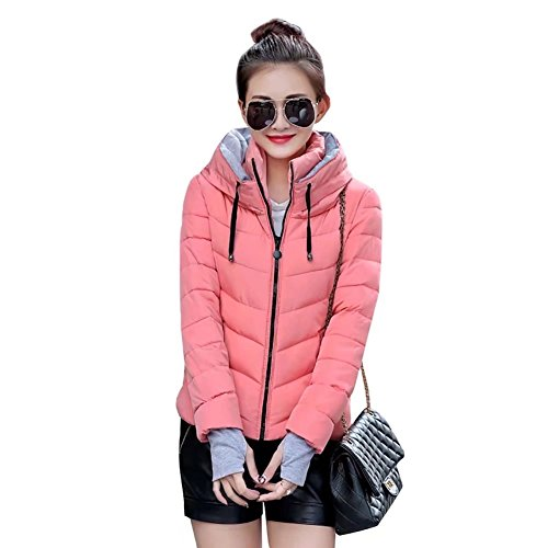 SITENG Womens Winter Jacket Parkas Thicken Plus Size Outerwear Solid Hooded Coats Short Slim Cotton Padded Basic Tops by SITENG (Image #2)