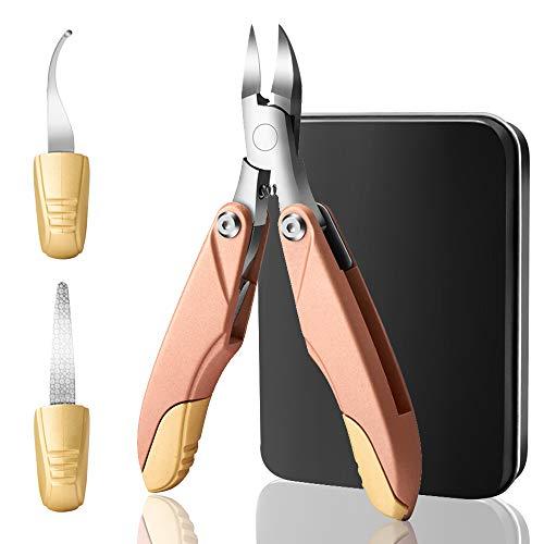 自発逃げる展開するYunTech 爪切り3in1 ニッパー爪切り ステンレス製 折り畳み式 巻き爪 硬い爪などにも対応 ゾンデ/爪やすり付き 手足兼用 収納ケース付き (ローズゴールド)