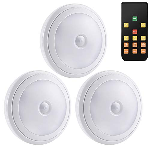 LED Puck Light/tap Light with Remote Battery Powered -3-Pack-3 Timer 3 Light Colors for Closet/Under Cabinet/Kitchen Cabinets/Stick On Lights/Aisle etc-(No Battery)