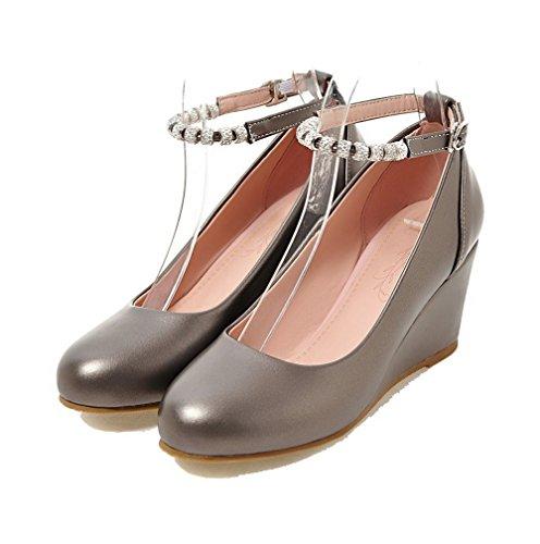 Odomolor Women's Kitten-Heels PU Solid Round-Toe Buckle Pumps-Shoes, Gray, 39