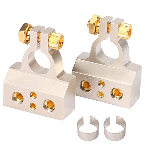 WLLDSE Car Battery Terminal Connectors Kit 2/4/8/10 AWG Positive Negative Clamp with 2 Shims, 1 Pair