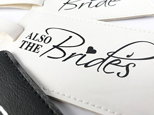 The Bride, Also The Brides & The Groom Wedding Honeymoon Luggage tags Set of 3, Black & White, Large by Forum Novelties (Image #4)