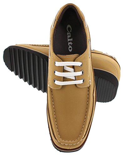 CALTO G6317A - 3.2 inches Taller - height Increasing Elevator Shoes-Nubuck Brown Lace-up Casual LJg8QFQ2TQ