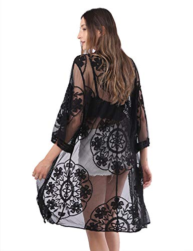 MissShorthair Womens Lace Crochet Cardigan Open Front Kimono Cover Ups (17black, X-Large)