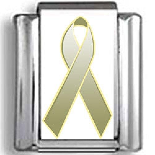 Green Ribbon Italian Charm - Olive Green Awareness Ribbon Photo Italian Charm