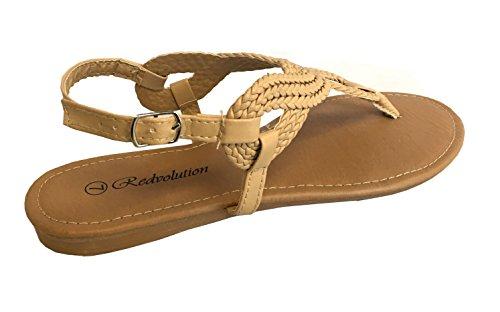 Redvolution Women's Braided Gladiator Sandal New T-Strap Thong Flat Sandal | 8016 (9, Nude) by Redvolution (Image #2)