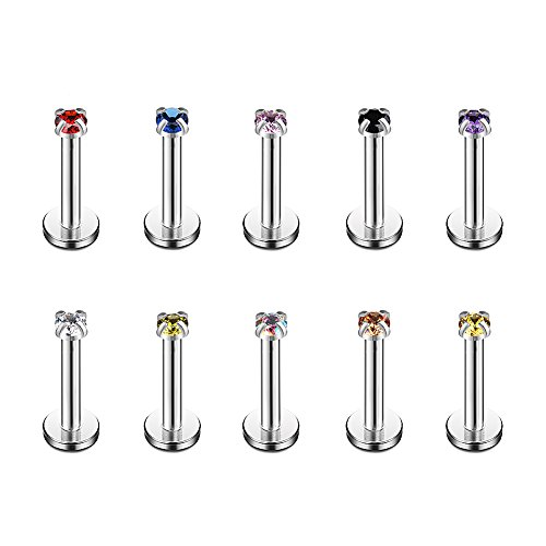 Ruifan 2mm Mix Color CZ Gem Internally Threaded Labret Monroe Lip Ring Tragus Nail Helix Earring Stud Barbell Piercing Jewelry 16G 8mm 10PCS ()
