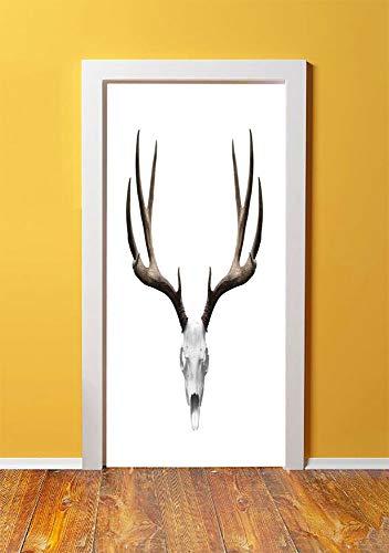 Antlers Decor 3D Door Sticker Wall Decals Mural Wallpaper,A Deer Skull Skeleton Head Bone Halloween Weathered Hunter Collection Decorative,DIY Art Home Decor Poster Decoration 30.3x78.5385,]()