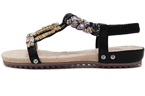 Plano Sandalias Mujer de BIGTREE Verano Playa Peep Toe Con brillo Rhinestone Beads Bohemio Sandalias Negro