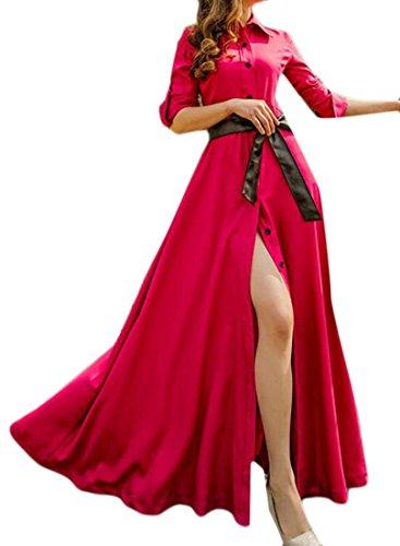 Red Sleeve Womens Casual Dress Down Half Rose Swing Button Belt Cromoncent Slit Maxi aXO7wqxq