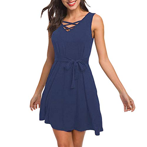 iPOGP Women Summer Dress Solid Color Sleeveless with Pocket V Neck Lace Up Criss Cross Swing T-Shirt Mini Dresses Fashion(Blue,M) ()