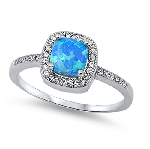 CloseoutWarehouse Blue Simulated Opal Princess Halo Ring Sterling Silver Size 6 by CloseoutWarehouse (Image #1)