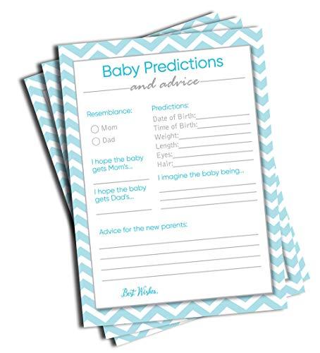 50 Predicciones y consejos para bebé, Chevron azul, juego de ducha para bebé, tarjeta para madre y papá o mamá y papá...