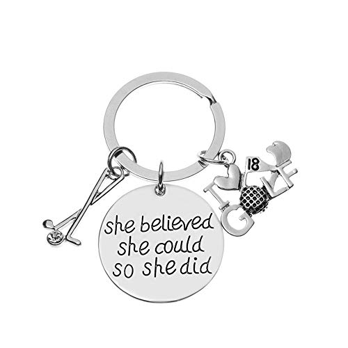 Golf She Believed She Could So She Did Charm Keychain, Golf Jewelry for Women and Girls, Perfect Gift for Female Golf Player or Golf Team