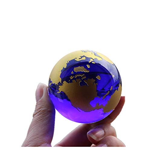 - Crystal Glass Marbles Earth Globe World map Quartz Crystals Sphere Terrarium Desk Ornaments Nautical Home Decor (Gold)