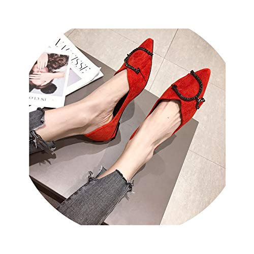 Vuitton Organizer Zippy Louis (Spring Slip On Casual Flats Women Fashion Pointed Toe Shallow Low Heel Shoes Woman 2019 New Solid Crystal Boat Shoes Footwear,Red,6)