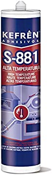SELLADOR DE SILICONA ALTA TEMPERATURA (HASTA 300°C) KEFREN S-881 - CARTUCHO 300 ml - COLOR NEGRO