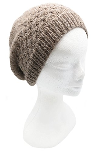 BARBERY Alpaca Accessories Handmade Pure Alpaca Hat for Snow - Warm Oatmeal (Ships from France) (Warm Oatmeal)
