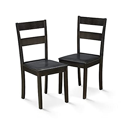 FURINNO Dining Chair Set, Espresso - Simple stylish design, functional and suitable for any room. Sturdy on flat surface. Easy assembly. Material: Foam and Micro Fabric - kitchen-dining-room-furniture, kitchen-dining-room, kitchen-dining-room-chairs - 41JECftJbfL. SS400  -
