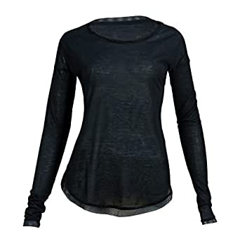 Burn Activewear Black Round Neck T-Shirt For Women
