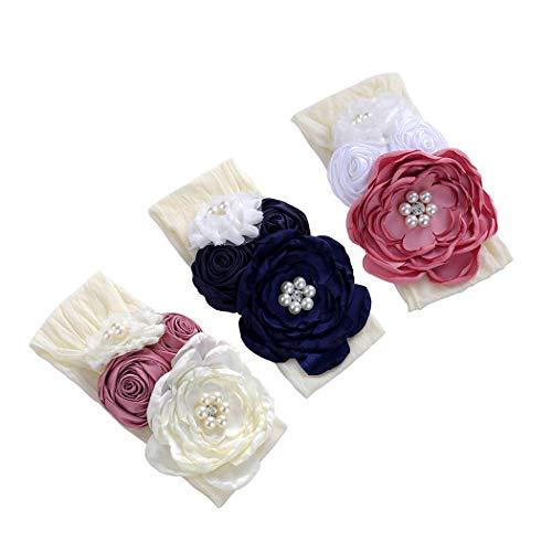 du fangbin Elastic Flower Headband Floral Crown Hair Bow Nylon Bands for Baby Girls Kids (Decor Nylon Flower)