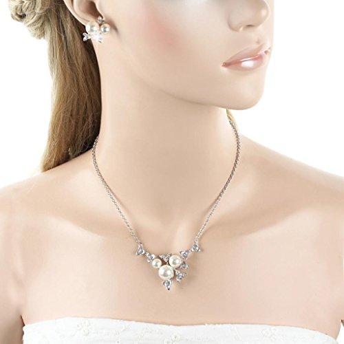 EVER FAITH Leaf Bridal Necklace Earrings Set Cream Simulated Pearl Clear Crystal Silver-Tone