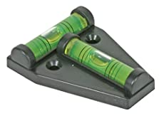 """Camco RV T Level can be mounted with screws or adhesive, and provides front-to-back or side-to-side leveling.  Measures 1.625"""" W x 2.25"""" H x 0.56"""" D"""