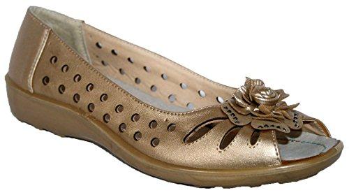 Annabelle Monique Leichte Slipper Schuhe Mit Front Blumen Deko Gold