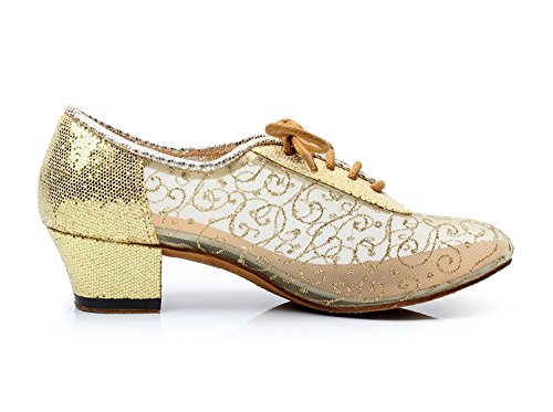 Net de Lacets nbsp;Pour Danse Minitoo Femme Or Fête à Moderne Latine de de Qj9005 Salsa Piste Soirée Doré Mariage Tango Danse de Chaussures XwSxg
