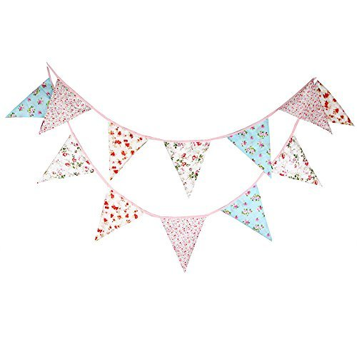 Double Sided 3.7M/12 Feet Floral Bunting Banner Pennant Garland Large Size Triangle Flag Vintage Cloth Shabby Chic Decoration for Birthday Parties, Kitchen, Bedroom (12Ft Mixed Floral) -