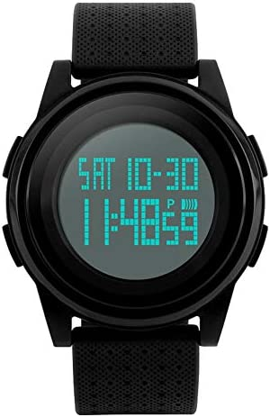 MJSCPHBJK Men's Digital Sports Watch LED Screen Electronic Military Waterproof Watches for Outdoor Running with Stopwatch LED Screen