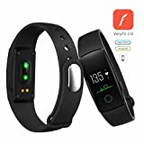 Fitness Tracker with Heart Rate Monitor - Touch Screen Smart Watch Healthy Wristband - Wireless Bluetooth 4.0 Smart Fitness Tracker Armband & Bracelet for Android and iOS Smartphone(Black)